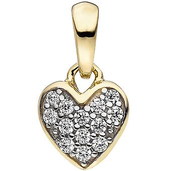 Kids pendant heart 375 gold yellow gold bicolor 13 cubic zirconia child trailer