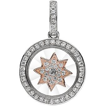 Star I LOVE YOU 925 sterling silver bicolor gold plated pendant with cubic zirconia