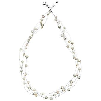 Begin zoetwater parel Multi Strand ketting - wit/zilver