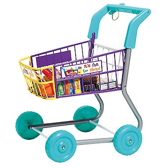 Toy Grocery Shopping Cart - Includes Play Food