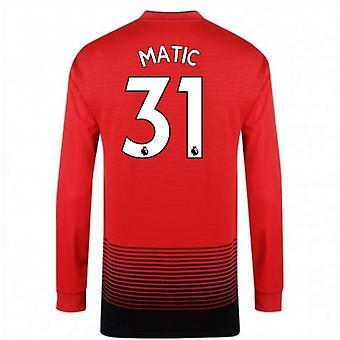 2018-2019 رجل يونايتد أديداس المنزل قميص (Matic 31)-كم طويل الأطفال
