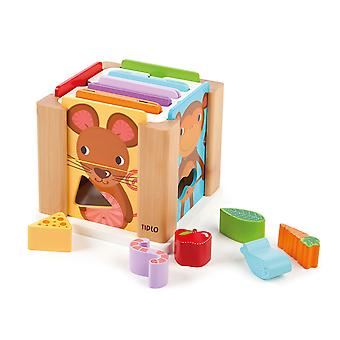 Tidlo Educational Wooden Animal Shape Sorting Cube Toy