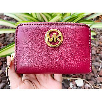 Michale Kors Fulton Coin Case Small Wallet Mulberry Burgundy Pebble Leather