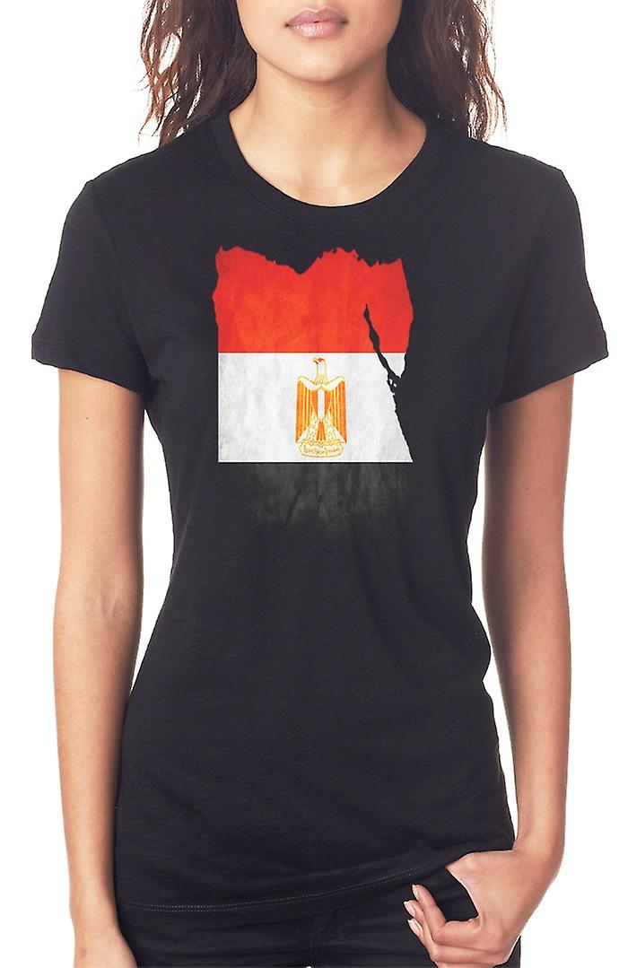 Egypt Egyptian Flag Map Ladies T Shirt