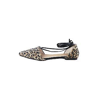 LMS Leopard lacez vers le haut de la chaussure plate pointu de jambe
