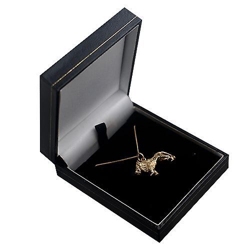 9ct Gold 15x23mm Lion Pendant with a curb Chain 16 inches Only Suitable for Children