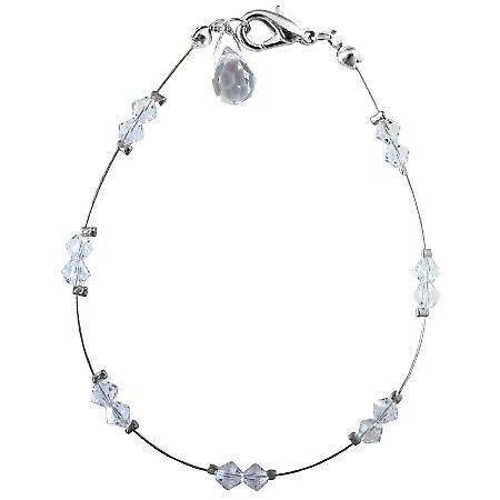 Wedding Party Clear Swarovski Crystals w/ Glass Bead Teardrop Bracelet
