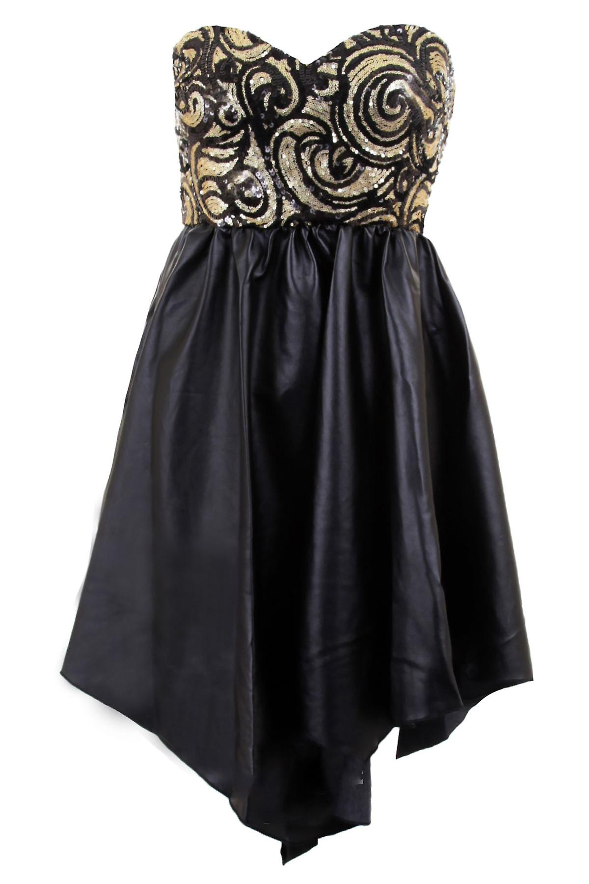 Ladies Sleeveless Sequin Bustier PVC Leather Contrast Women's Skater Flare Dress