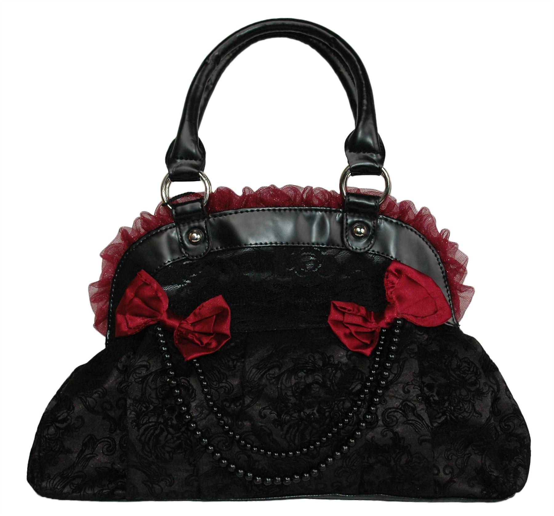 Banned Flocked Rose Skull Handbag