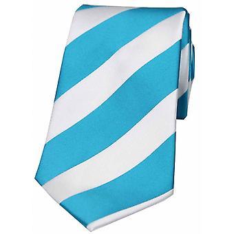 David Van Hagen kühn Streifen Polyester Krawatte - Türkis/weiß