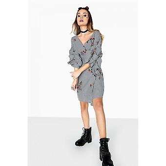 Girls On Film Womens/Ladies Grant Gingham Embroidered Wrap Dress