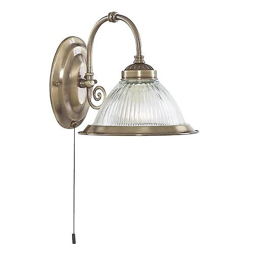 Searchlight 9341-1 American Diner Tradition Switched Wall Light With Clear Ribbed Glass