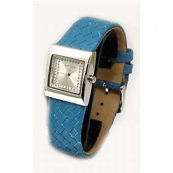 Solo Genuine Leather Woven Blue Strap Silver Dial Ladies Watch G362