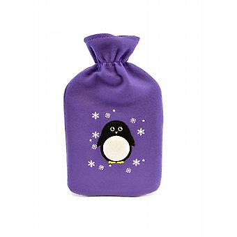 Applique Penguin Purple Fleece Hot Water Bottle