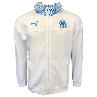 2019-2020 Olympique Marseille Puma Casuals zip thru hoody (branco)