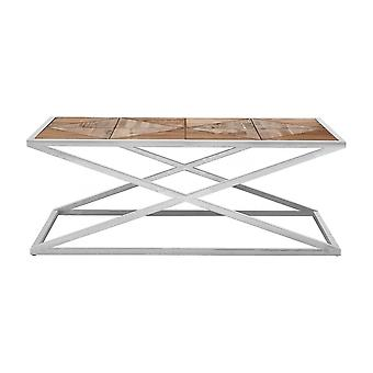 Fusion Living Distressed Fir Wood Coffee Table With Silver Frame