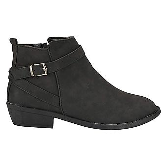 Women's Distressed PU Ankle Boots with Strap Details Fashion Shoes