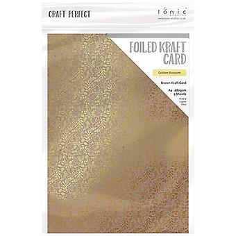 Craft Perfect av tonic Studios A4 folierade Craft Card Golden Blossom
