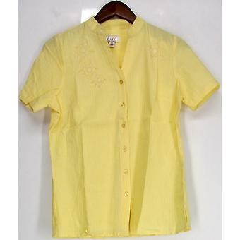 Denim & Co. Short Sleeve Embroidered Gauze Shirt Pale Yellow A215012