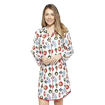 Cyberjammies 4260 Women-apos;s Belle White Mix Bauble Print Cotton Nightshirt
