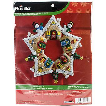 Gingerbread Wreath Felt Applique Kit-17