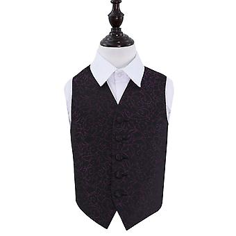 Boy's Black & Purple Swirl Patterned Wedding Waistcoat