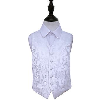 Boy's White Passion Floral Patterned Wedding Waistcoat