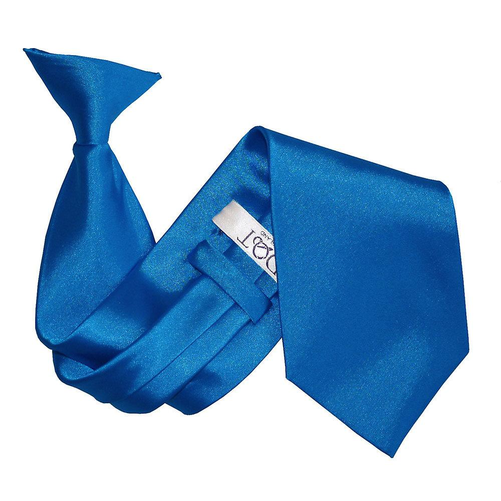 Plain Electric Blue Satin Clip On Tie