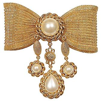 Butler & Wilson Vintage Big Mesh Bow - Pearl Drops Brooch