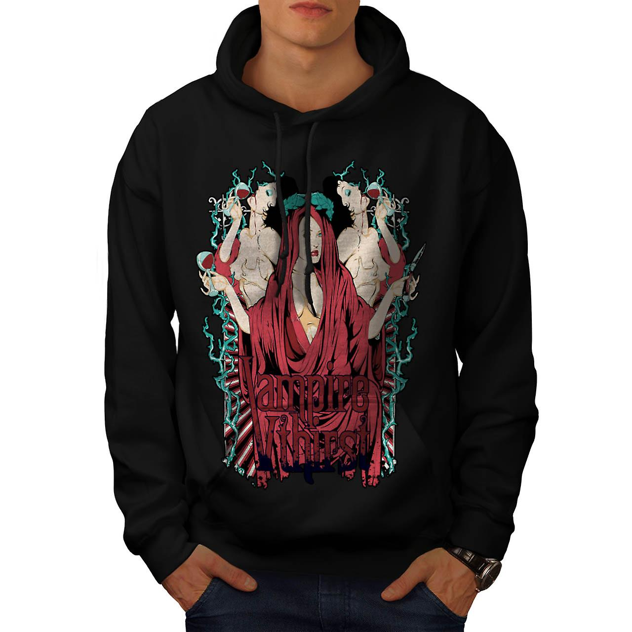 Vampire Thirst Blood Goth Girls Men Black Hoodie | Wellcoda