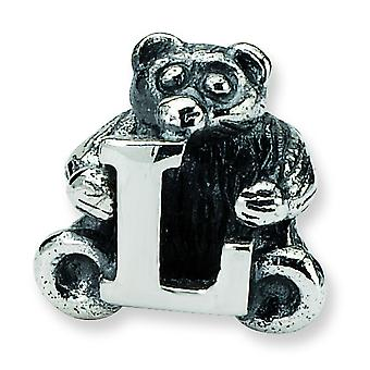 Sterling Silver Antique finish Reflections Kids Letter L Bead Charm