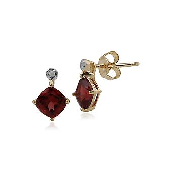 Gemondo 9ct Yellow Gold 1.36ct Garnet & Diamond Stud Earrings