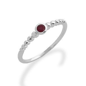 Gemondo 925 Sterling Silver 0.14ct Ruby Stackable Birthstone Ring