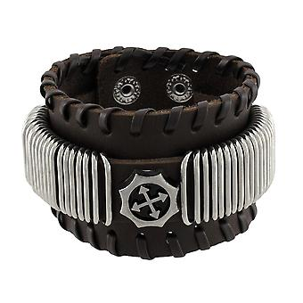 Brown Leather Wristband with Chrome Rings Faux Compass Center