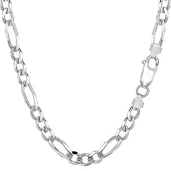 Sterling Silver Rhodium Plated Figaro Chain Necklace, 5.7mm