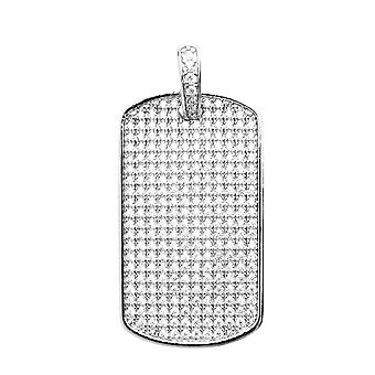 925 iced out sterling sølv vedhæng - MINI DOG TAG