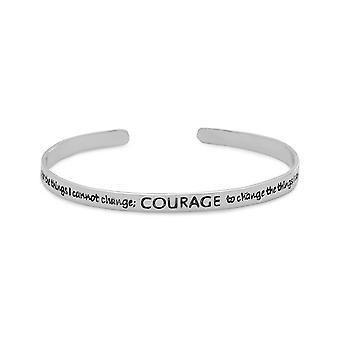 Geoxideerd zilver Manchet armband met de Serenity gebed