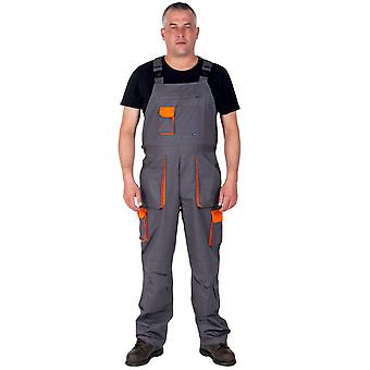 Bib and Brace Work Overalls for men - Texo Contrast - Grey and Orange