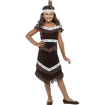 Indianerin Mädchenkostüm Braun mit Fransenkleid und befiedertes Stirnband