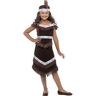 Native American Girl kostyme Brown fringed kjole og hodebånd befiedertes