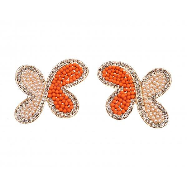W.A.T Clip On Orange Beaded Butterfly Shaped Fashion Earrings