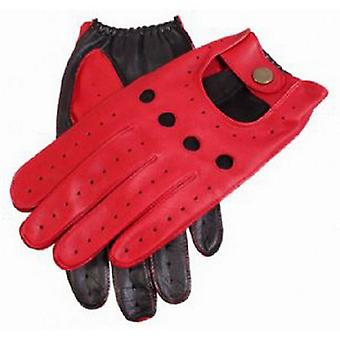 Dents Berry Leather Two Tone Driving Gloves - Red/Black