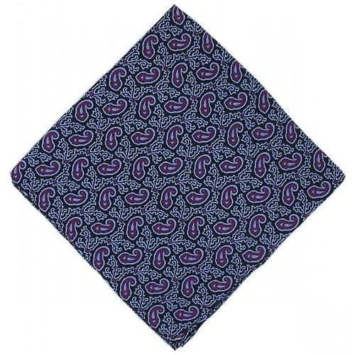Michelsons of London Small Paisley Silk Handkerchief - Purple