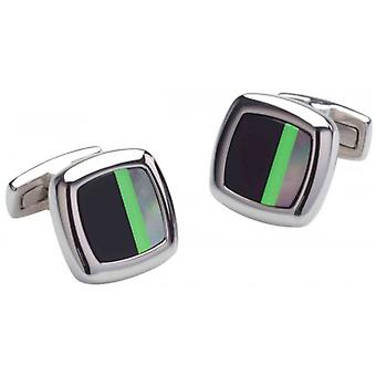 Duncan Walton Sculptor Onyx and Mother of Pearl Cufflinks - Black/Green/Silver