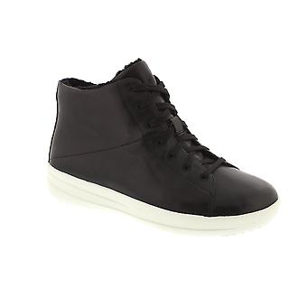 FitFlop F Sporty Sneaker Boot - Black Leather Womens Trainers