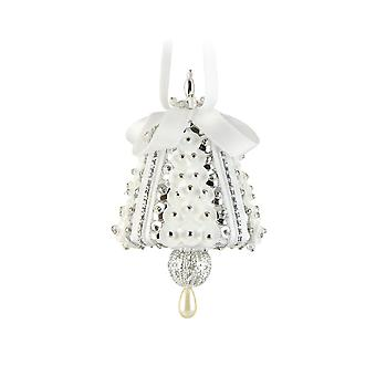 Pinflair Sequin & Pin Silver & White Mini Bell Christmas Ornaments - Makes 4