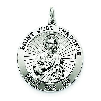 Sterlingsølv Solid Satin Engravable gnisten-kutt antikk finish St. Jude Thaddeus Medal sjarm