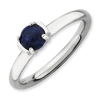 2.5mm Sterling Silver Prong set Rhodium-plated Stackable Expressions Polished Blue Lapis Ring - Ring Size: 5 to 10