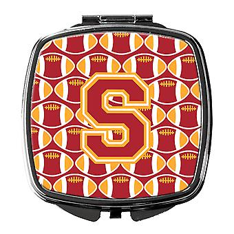 Letter S Football Cardinal and Gold Compact Mirror