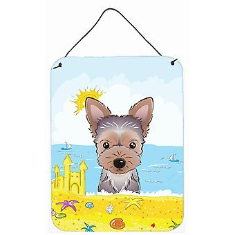 Yorkie Puppy Summer Beach Wall or Door Hanging Prints